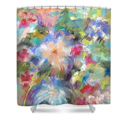 Shower Curtain featuring the painting Columbine In The Wildflowers by Frances Marino