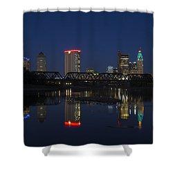 Columbus Night Reflection Shower Curtain