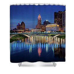 Shower Curtain featuring the photograph Columbus Ohio Skyline At Night by Adam Romanowicz