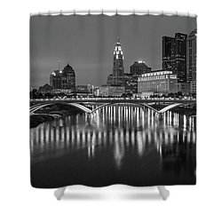 Shower Curtain featuring the photograph Columbus Ohio Skyline At Night Black And White by Adam Romanowicz