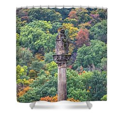 Shower Curtain featuring the photograph Column With Pieta Statue - Prague by Stuart Litoff