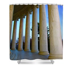 Columns At Jefferson Shower Curtain by Megan Cohen