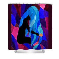 Combing The Waves Dark Shower Curtain by Paula Ayers