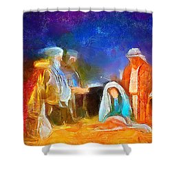 Shower Curtain featuring the painting Come Let Us Adore Him by Wayne Pascall