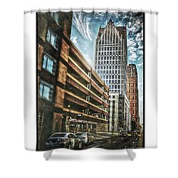 Comerica Tower Shower Curtain by Donald Yenson