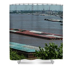 Commercial River Traffic On The Mississippi Shower Curtain by Garry McMichael