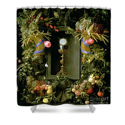 Communion Cup And Host Encircled With A Garland Of Fruit Shower Curtain by Jan Davidsz de  Heem