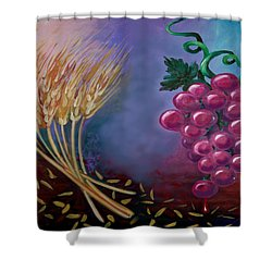 Shower Curtain featuring the painting Communion by Kevin Middleton