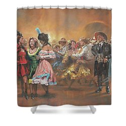 Comparing Notes Shower Curtain by Mia DeLode