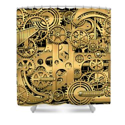 Complexity And Complications - Clockwork Gold Shower Curtain by Serge Averbukh