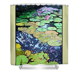 Composition With Lily Pads Shower Curtain by John Lautermilch