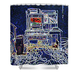 Computers And Wires Shower Curtain