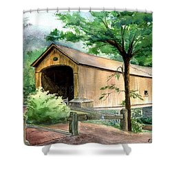 Comstock Bridge Shower Curtain by Katherine  Berlin