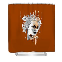 Concerned T-shirt Shower Curtain by Herb Strobino