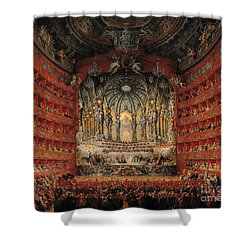 Concert Given By Cardinal De La Rochefoucauld At The Argentina Theatre In Rome Shower Curtain by Giovanni Paolo Pannini or Panini