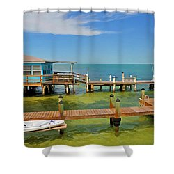 Conch Key Blue Cottage 3 Shower Curtain