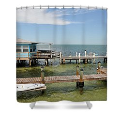 Conch Key Blue Cottage Shower Curtain