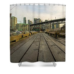 Condominium Buildings Along Granville Island Vancouver Bc Shower Curtain