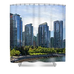 Condominium Waterfront Living In Vancouver Bc Shower Curtain by David Gn