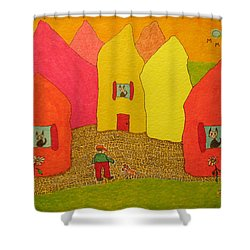 Cone-shaped Houses Man With Dog Shower Curtain