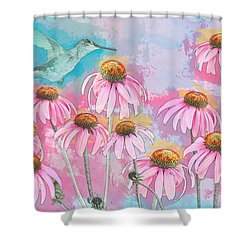 Coneflower Hummingbird Watercolor Shower Curtain