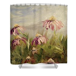 Shower Curtain featuring the painting Coneflowers by Donna Tuten