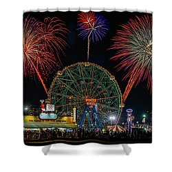 Coney Island At Night Fantasy Shower Curtain