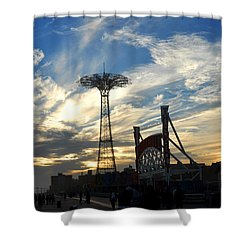 Coney Island Boardwalk At Sunset Shower Curtain by Diane Lent