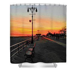 Coney Island Boardwalk Sunset Shower Curtain