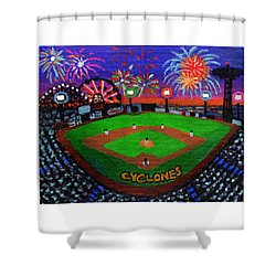 Coney Island Cyclones Fireworks Display Shower Curtain