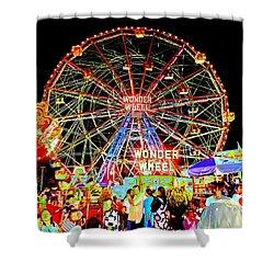 Coney Island Magic In Neon Shower Curtain