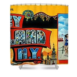 Coney Island New York Shower Curtain