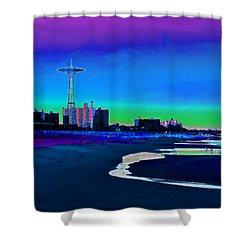 Coney Island Parachute Jump And Beach Shower Curtain