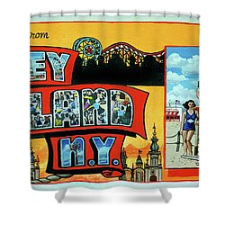 Coney Island Post Card Shower Curtain