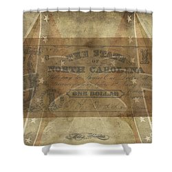 Shower Curtain featuring the digital art Confederate $1 North Carolina Note by Melissa Messick