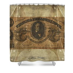 Shower Curtain featuring the digital art Confederate $100 Virginia Note by Melissa Messick