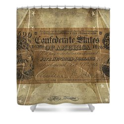 Shower Curtain featuring the digital art Confederate $500.00 Note by Melissa Messick