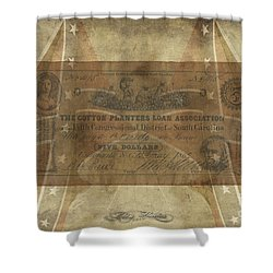 Shower Curtain featuring the digital art Confederate Cotton Planters Loan$5 Note by Melissa Messick