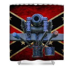 Confederate Flag And Cannon Shower Curtain by Randy Steele