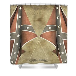 Shower Curtain featuring the digital art Confederate Flags by Melissa Messick