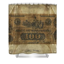Shower Curtain featuring the digital art Confederate Mississippi $100 Note by Melissa Messick