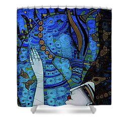 Confessions In Blue Shower Curtain