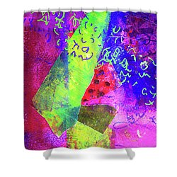 Shower Curtain featuring the mixed media Confetti by Nancy Merkle