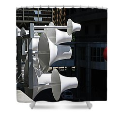 Shower Curtain featuring the photograph Conical Sculpture Stranger by Christopher McKenzie