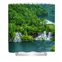 Connected By Waterfalls - Plitvice Lakes National Park, Croatia Shower Curtain