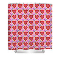 Connected Hearts Pattern Shower Curtain