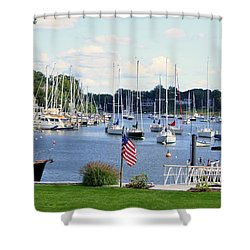 Connecticut Harbor Town Shower Curtain