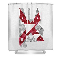 Shower Curtain featuring the painting Alabama Typographic Map Flag by Inspirowl Design