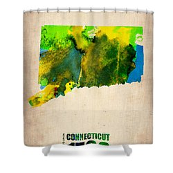 Connecticut Watercolor Map Shower Curtain by Naxart Studio