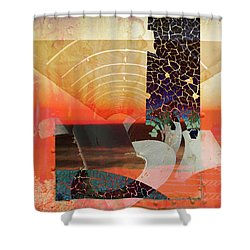 Connections In Space Shower Curtain by Robert Ball